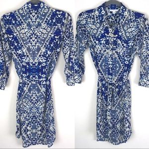 CAbi Jewel Geo Print Button Up Shirtdress